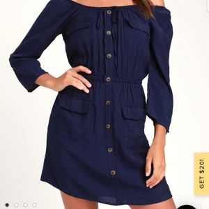 Etta Navy Blue Button Front Off-the-Should…